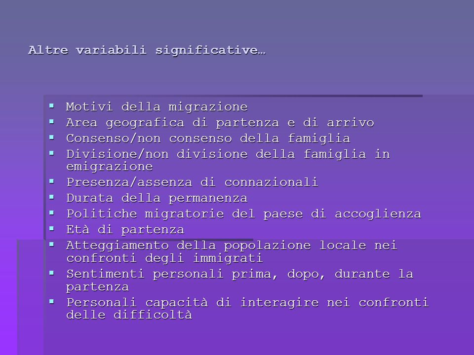 Altre variabili significative…