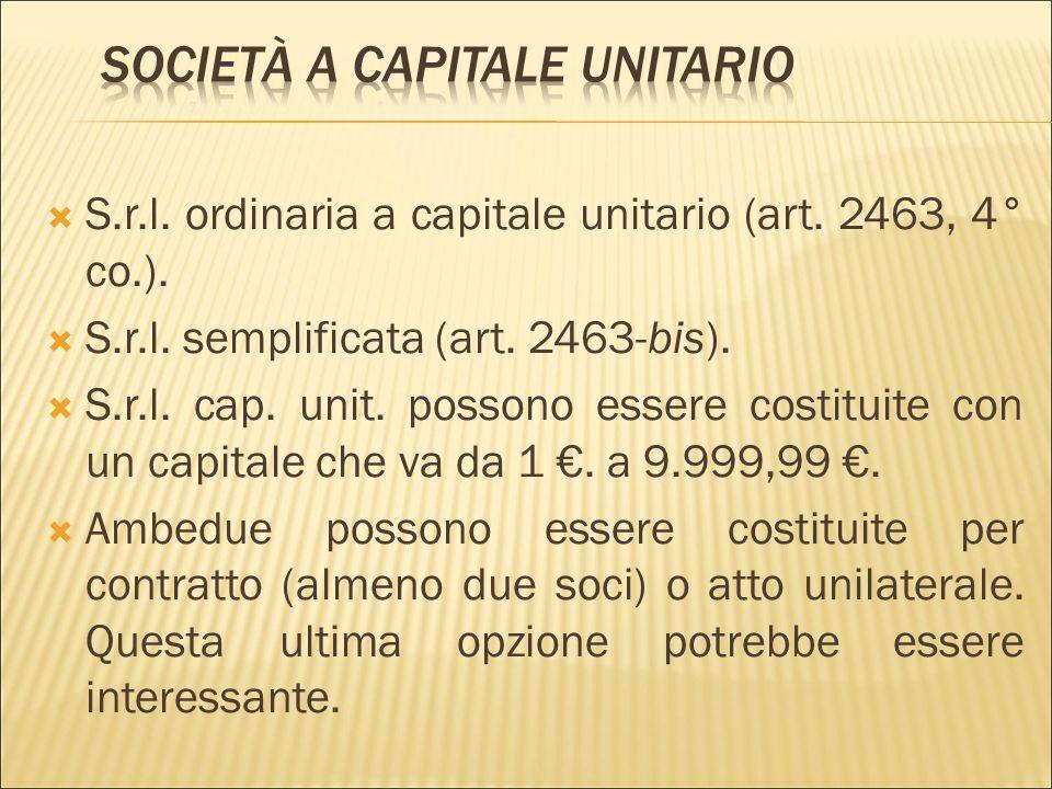 Società a capitale unitario