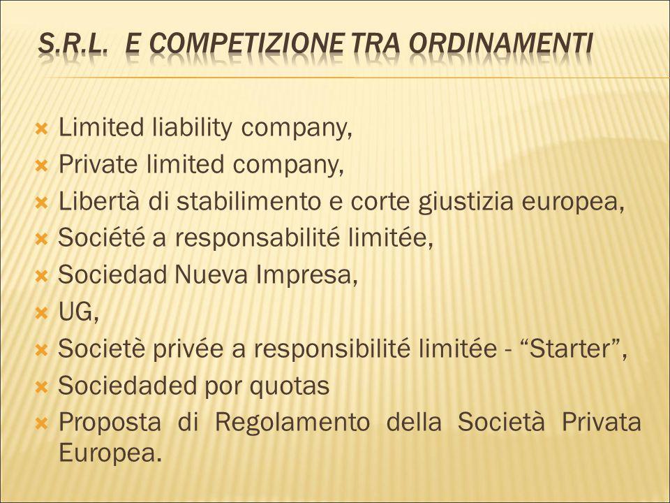 S.r.l. e competizione tra ordinamenti