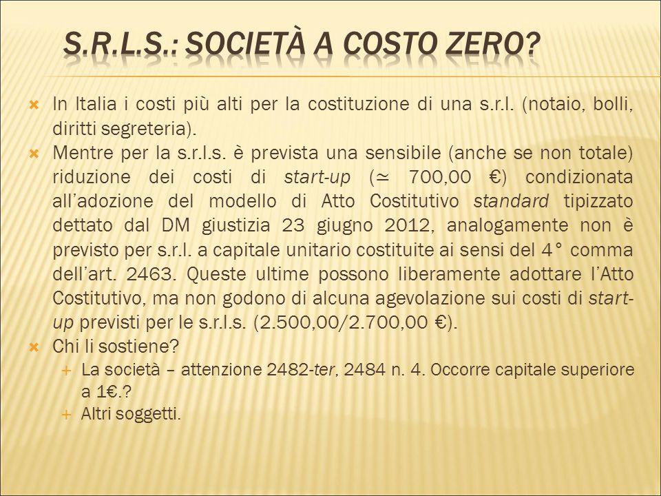 s.r.l.s.: Società a costo zero