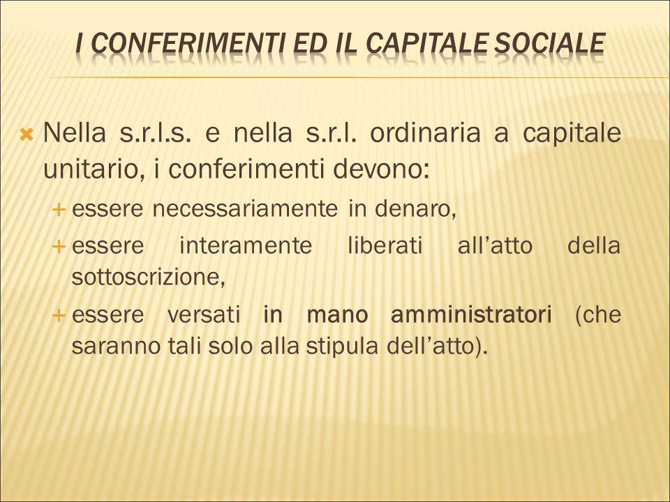 I conferimenti ed il capitale sociale