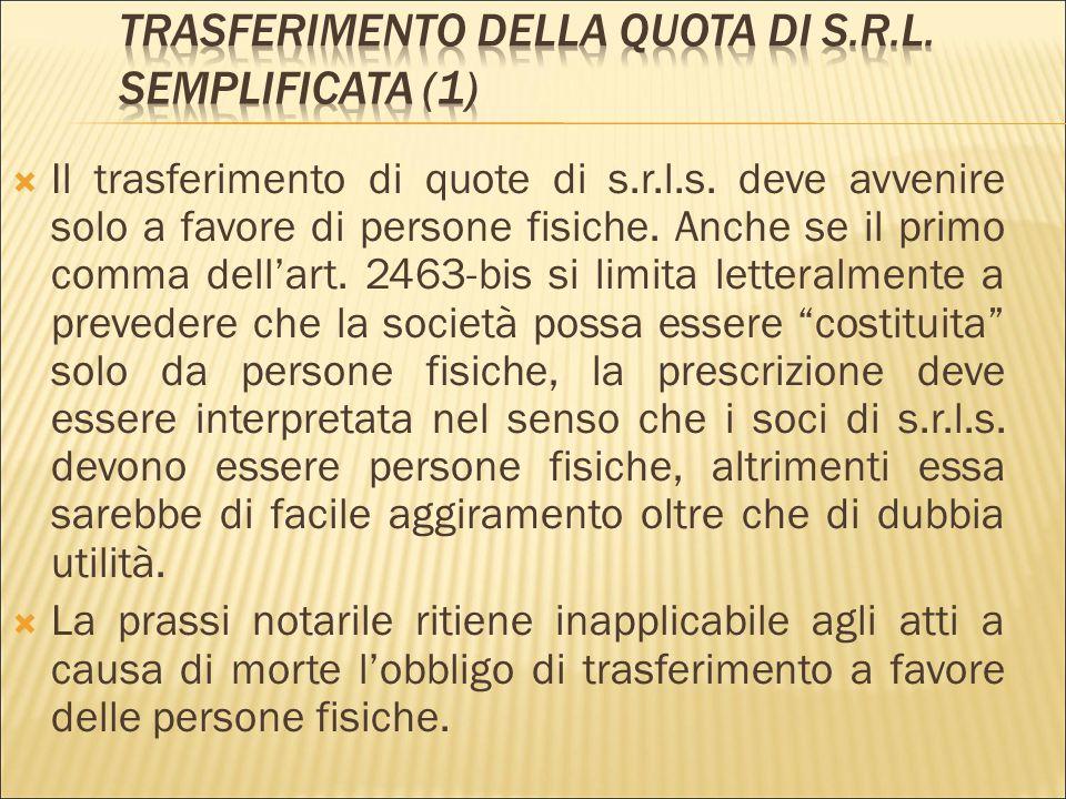 Trasferimento della quota di s.r.l. semplificata (1)