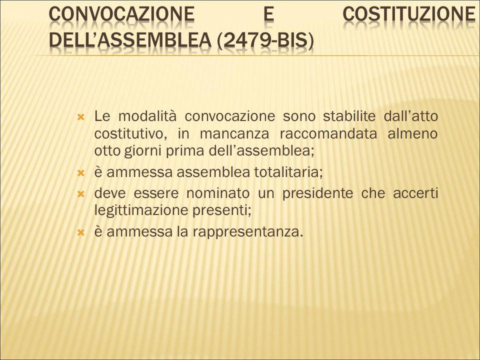 Convocazione e costituzione dell'assemblea (2479-bis)