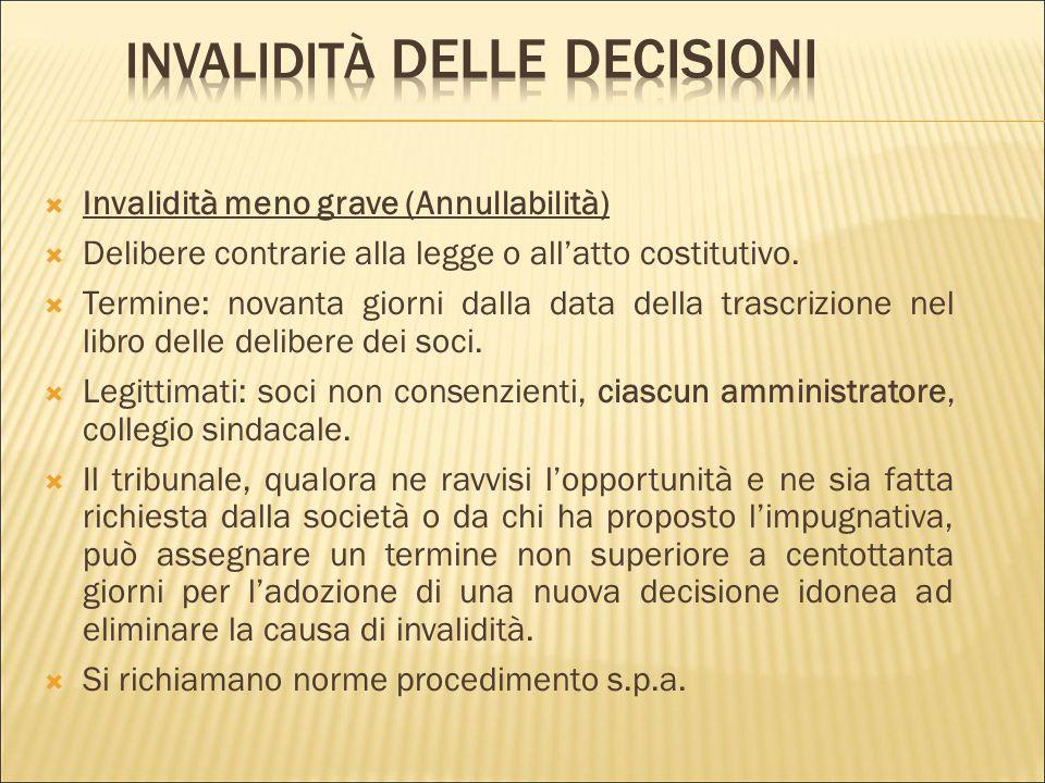Invalidità delle decisioni
