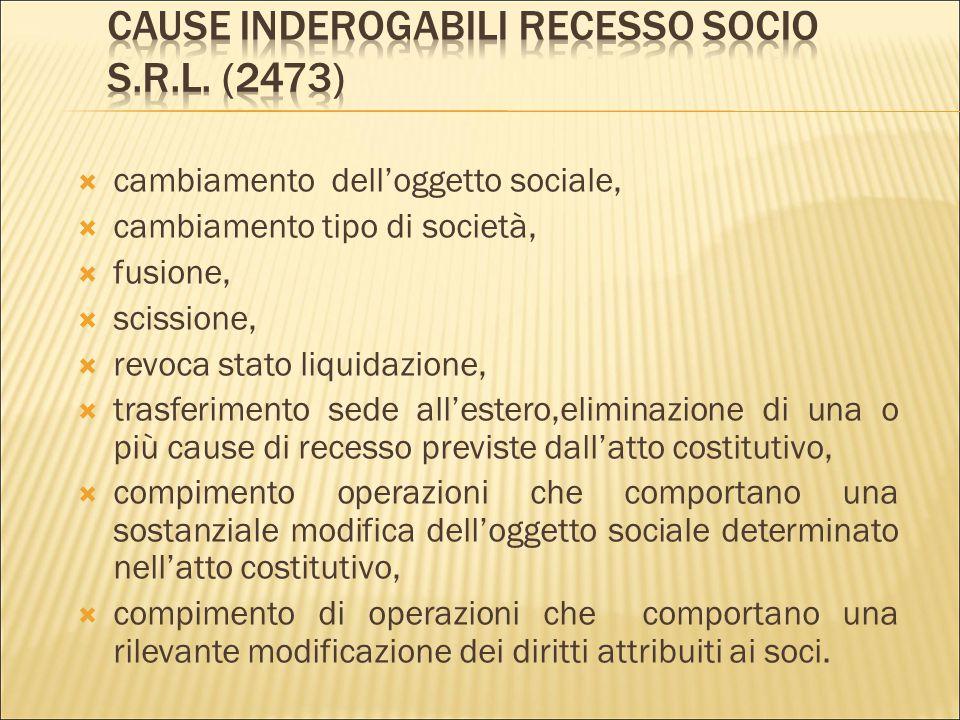 Cause inderogabili recesso socio s.r.l. (2473)