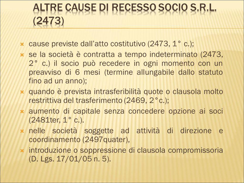 Altre cause di recesso socio s.r.l. (2473)