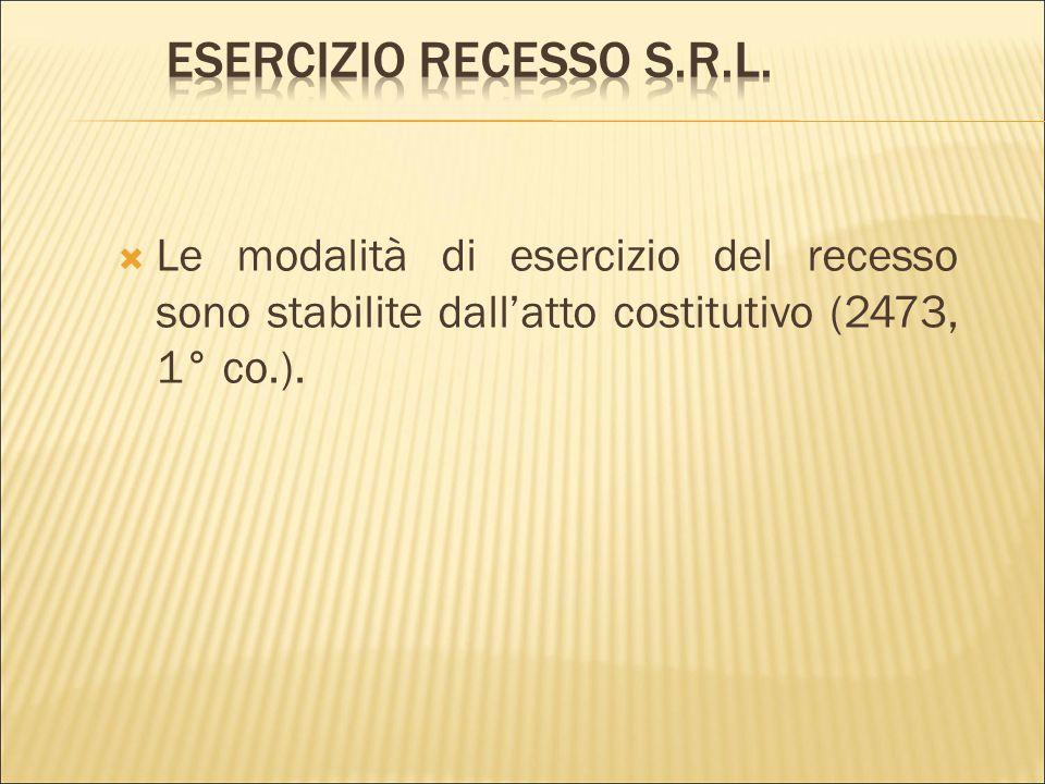Esercizio recesso s.r.l.