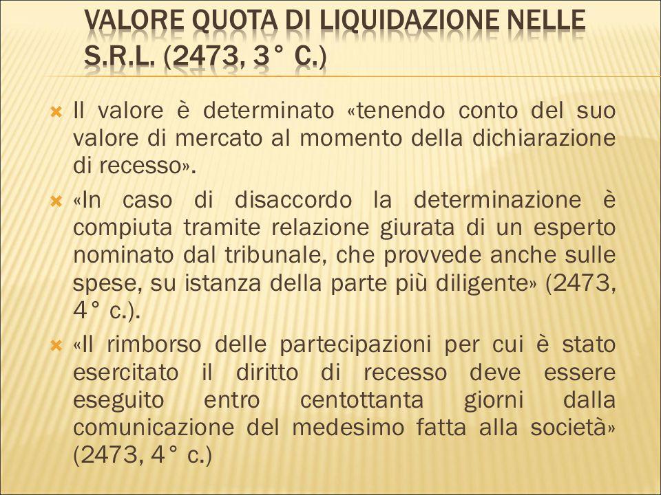 Valore quota di liquidazione nelle s.r.l. (2473, 3° c.)