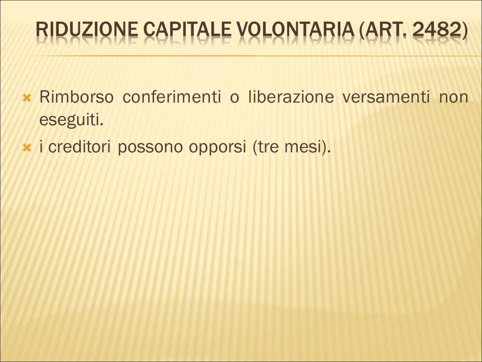 Riduzione capitale volontaria (art. 2482)