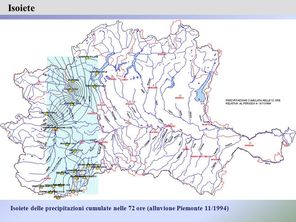 Isoiete Isoiete delle precipitazioni cumulate nelle 72 ore (alluvione Piemonte 11/1994)