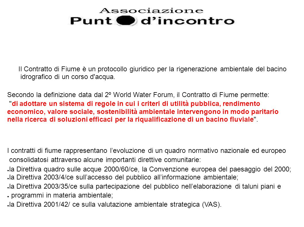 Il Contratto di Fiume è un protocollo giuridico per la rigenerazione ambientale del bacino