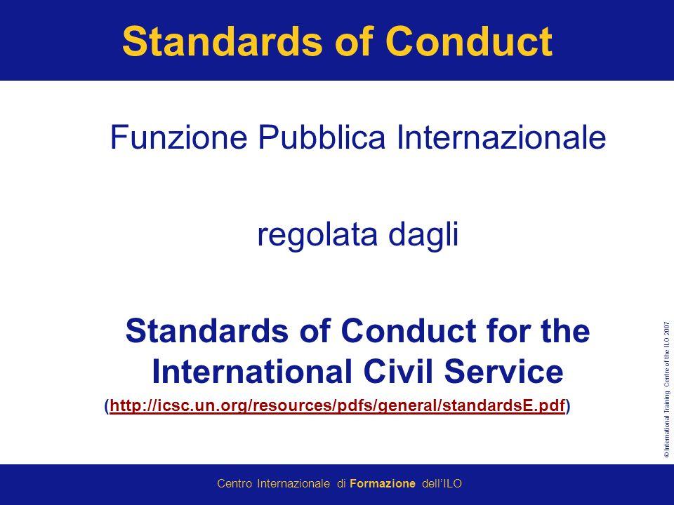 Standards of Conduct Funzione Pubblica Internazionale regolata dagli