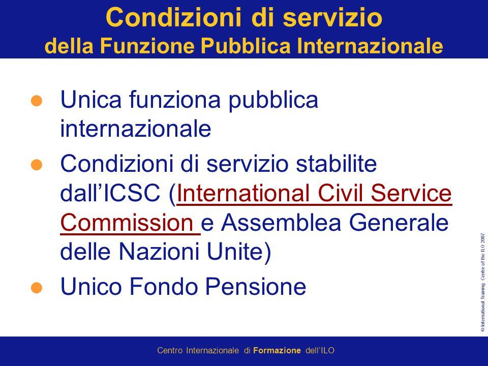 Condizioni di servizio della Funzione Pubblica Internazionale
