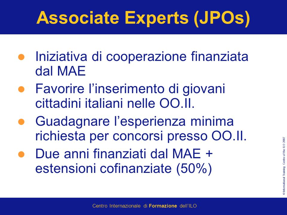 Associate Experts (JPOs)