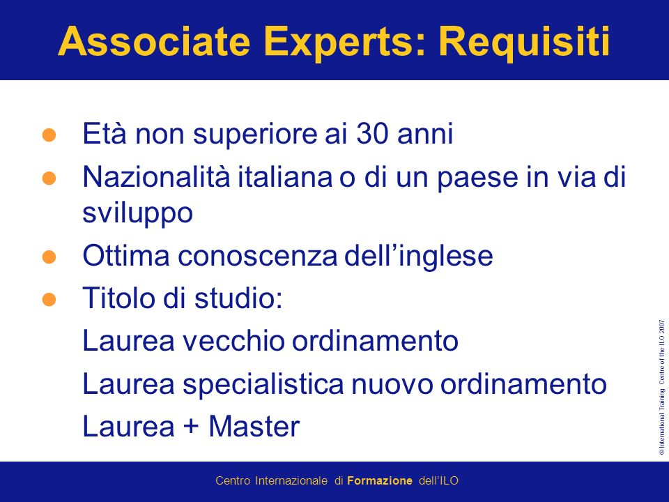 Associate Experts: Requisiti