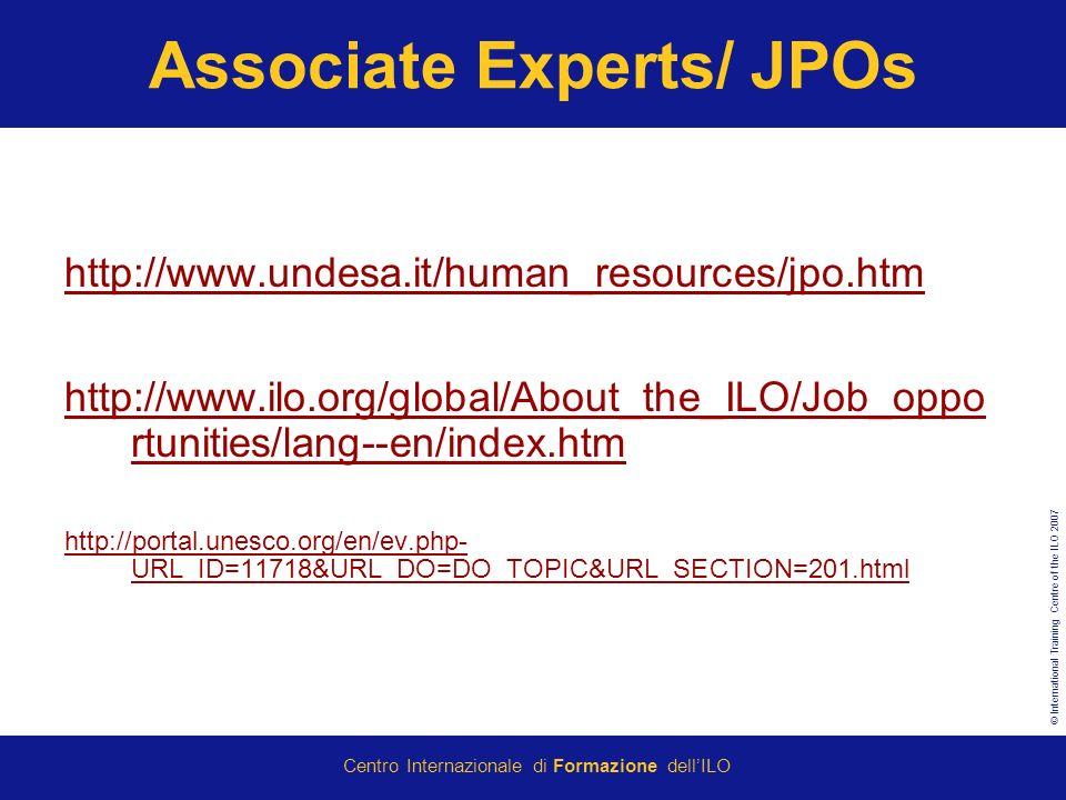 Associate Experts/ JPOs