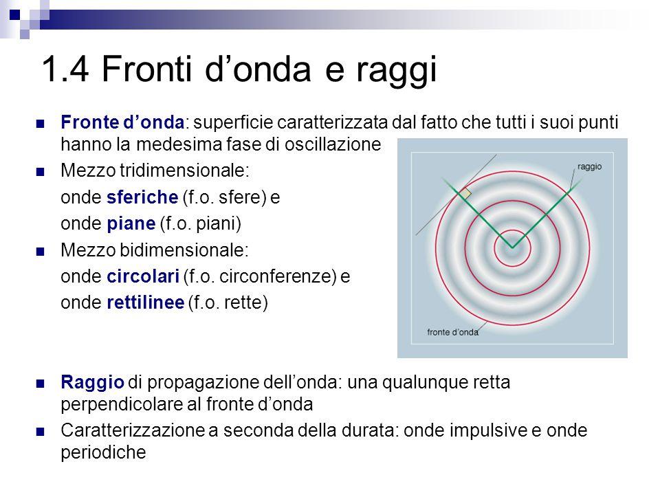 1.4 Fronti d'onda e raggi Fronte d'onda: superficie caratterizzata dal fatto che tutti i suoi punti hanno la medesima fase di oscillazione.
