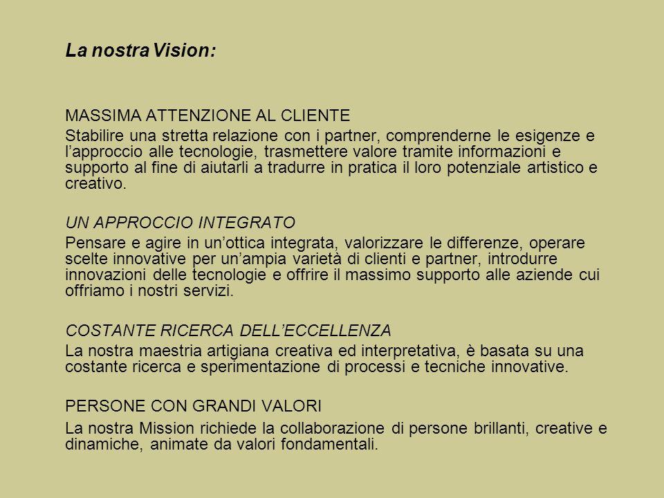 La nostra Vision: MASSIMA ATTENZIONE AL CLIENTE.