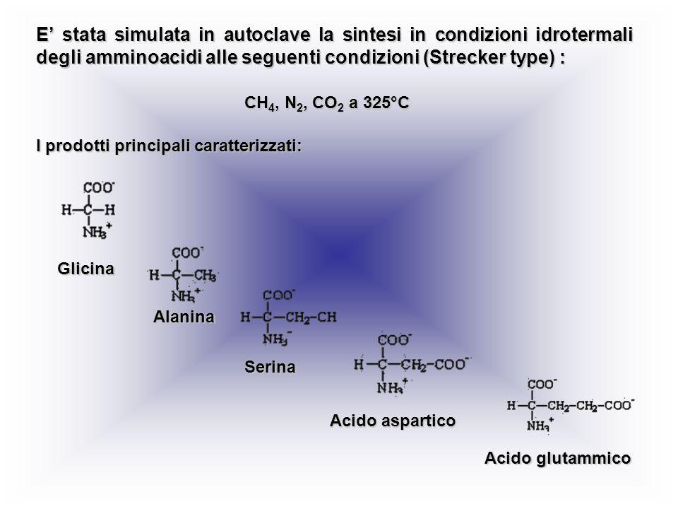 E' stata simulata in autoclave la sintesi in condizioni idrotermali degli amminoacidi alle seguenti condizioni (Strecker type) :