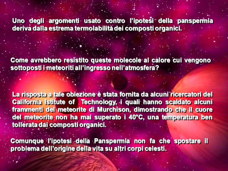 Uno degli argomenti usato contro l'ipotesi della panspermia deriva dalla estrema termolabilità dei composti organici.