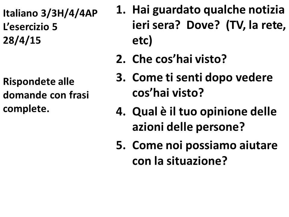 Italiano 3/3H/4/4AP L'esercizio 5 28/4/15