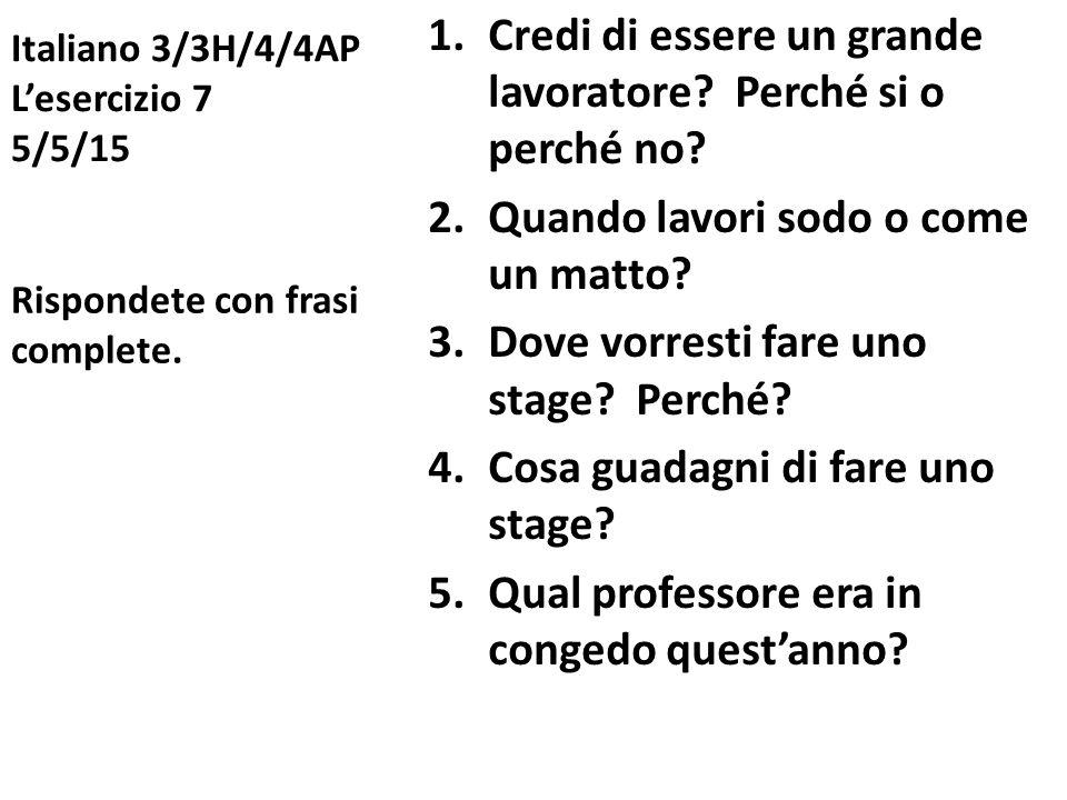 Italiano 3/3H/4/4AP L'esercizio 7 5/5/15