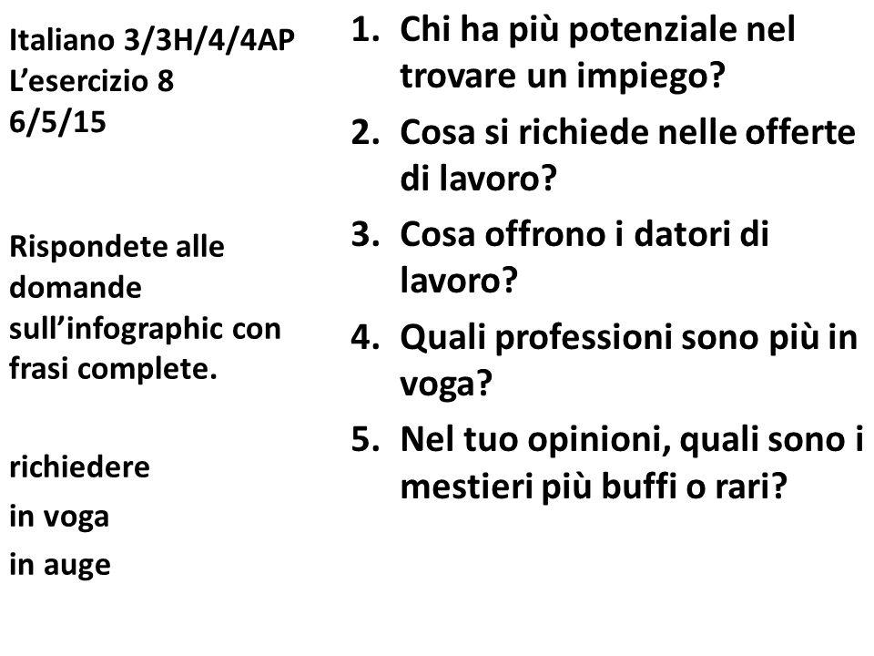Italiano 3/3H/4/4AP L'esercizio 8 6/5/15