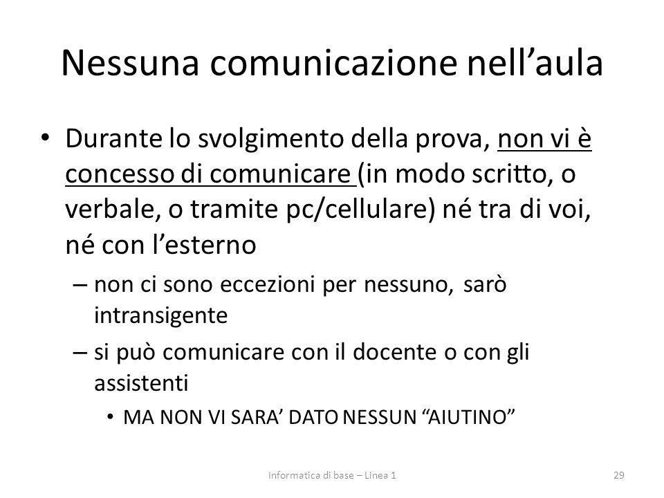 Nessuna comunicazione nell'aula