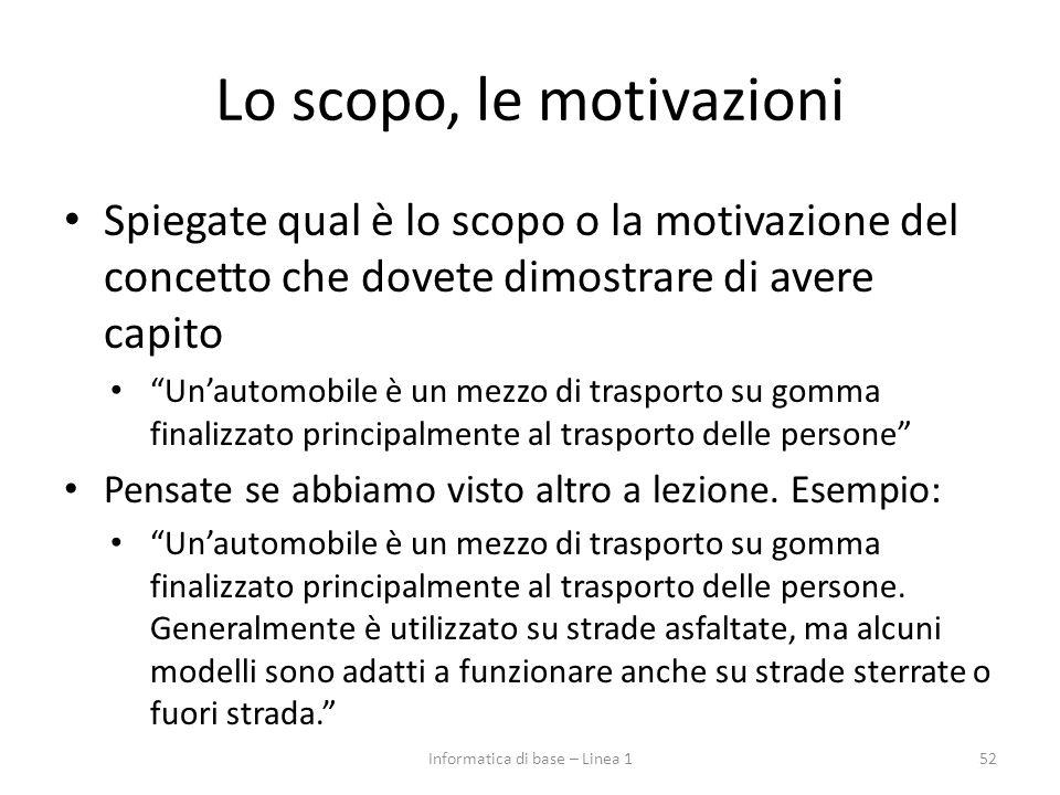 Lo scopo, le motivazioni