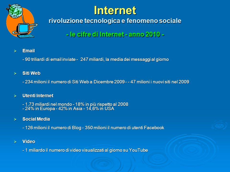 Internet rivoluzione tecnologica e fenomeno sociale - le cifre di Internet - anno 2010 -