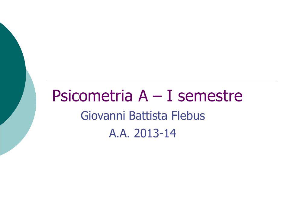 Psicometria A – I semestre