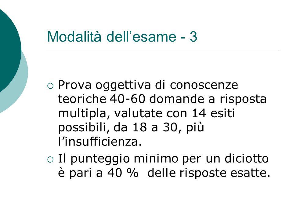 Modalità dell'esame - 3