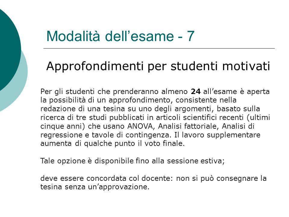Modalità dell'esame - 7 Approfondimenti per studenti motivati