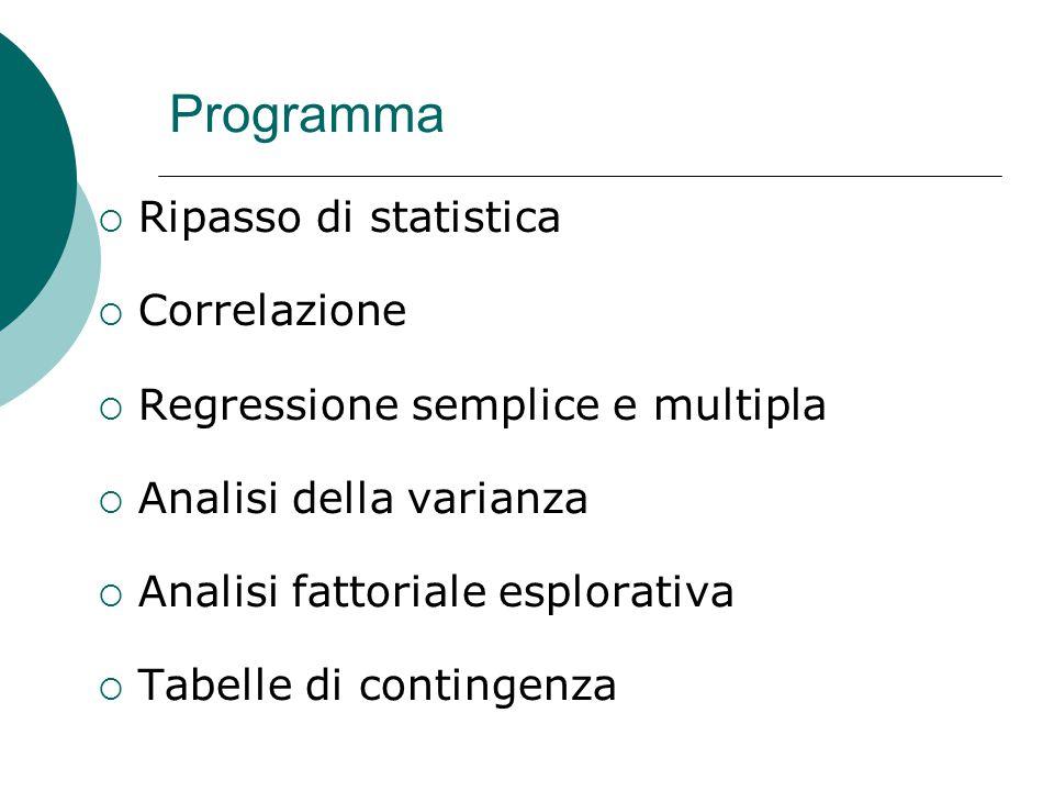 Programma Ripasso di statistica Correlazione
