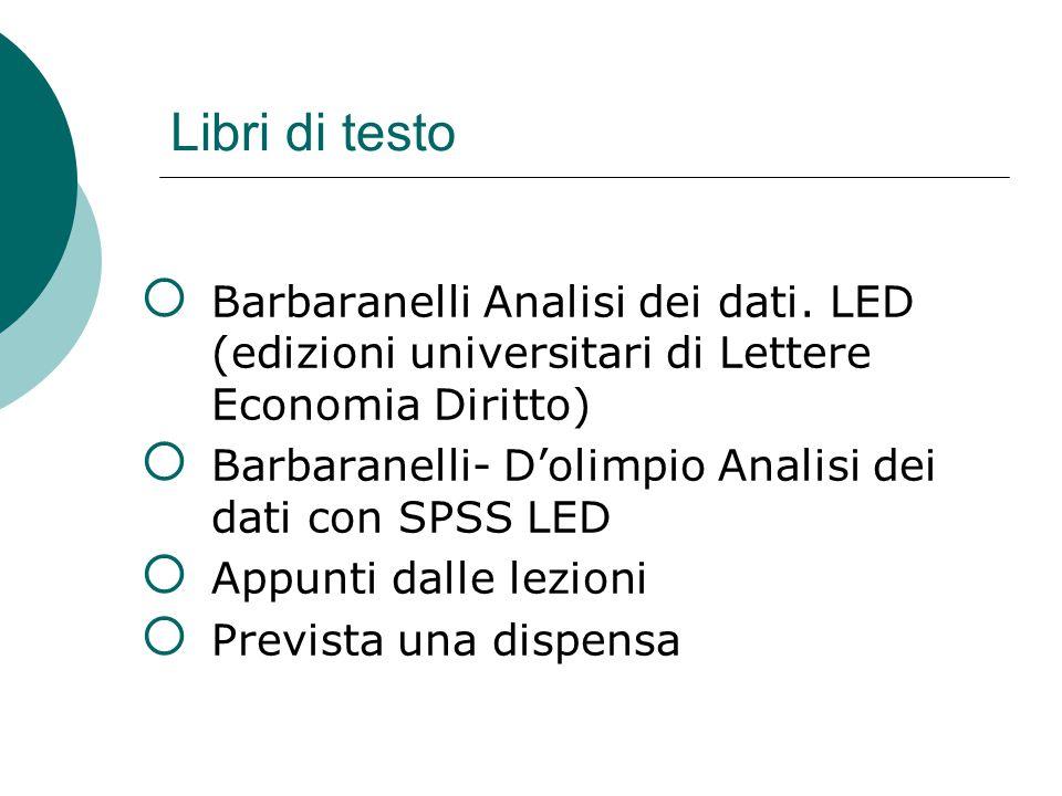 Libri di testo Barbaranelli Analisi dei dati. LED (edizioni universitari di Lettere Economia Diritto)