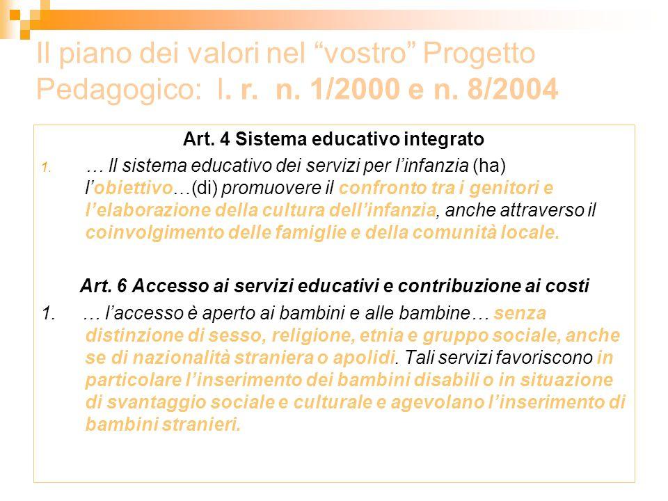 Art. 4 Sistema educativo integrato