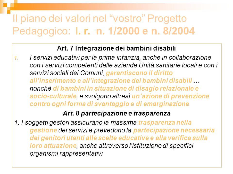 Art. 8 partecipazione e trasparenza
