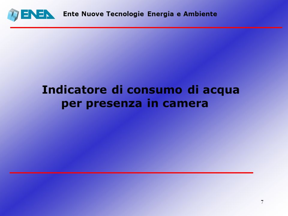 Indicatore di consumo di acqua per presenza in camera