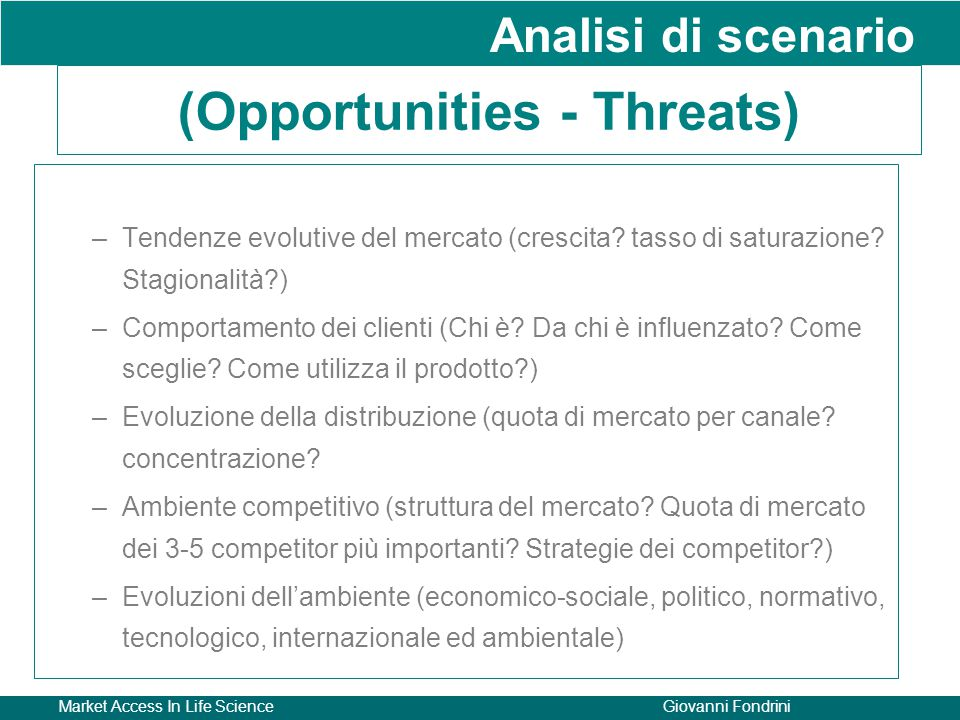 (Opportunities - Threats)