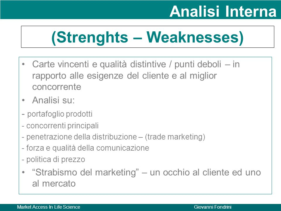 (Strenghts – Weaknesses)
