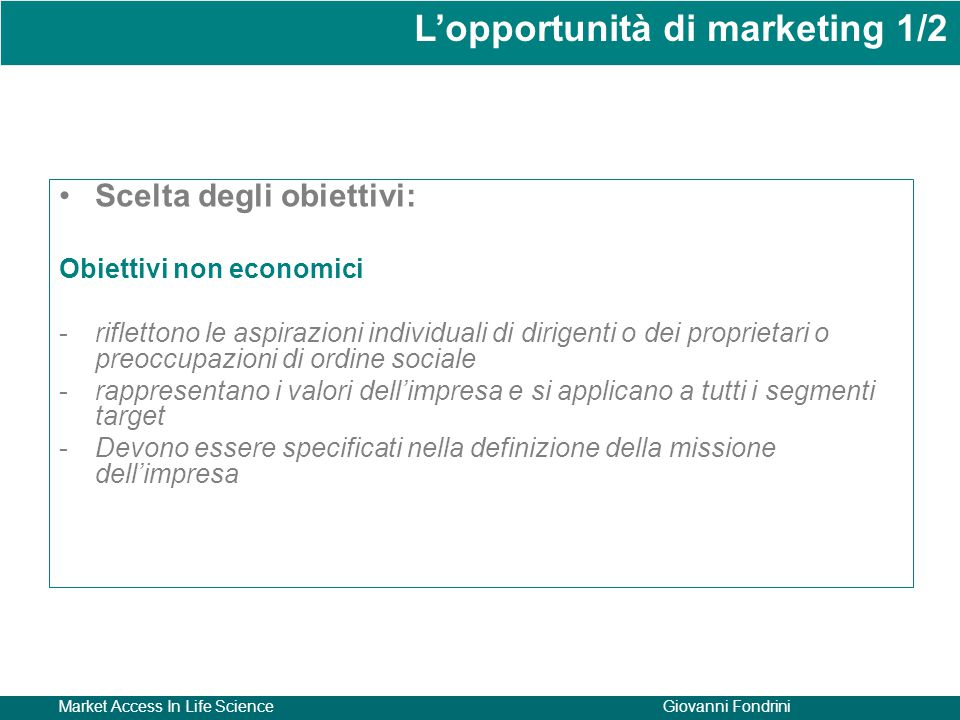 L'opportunità di marketing 1/2