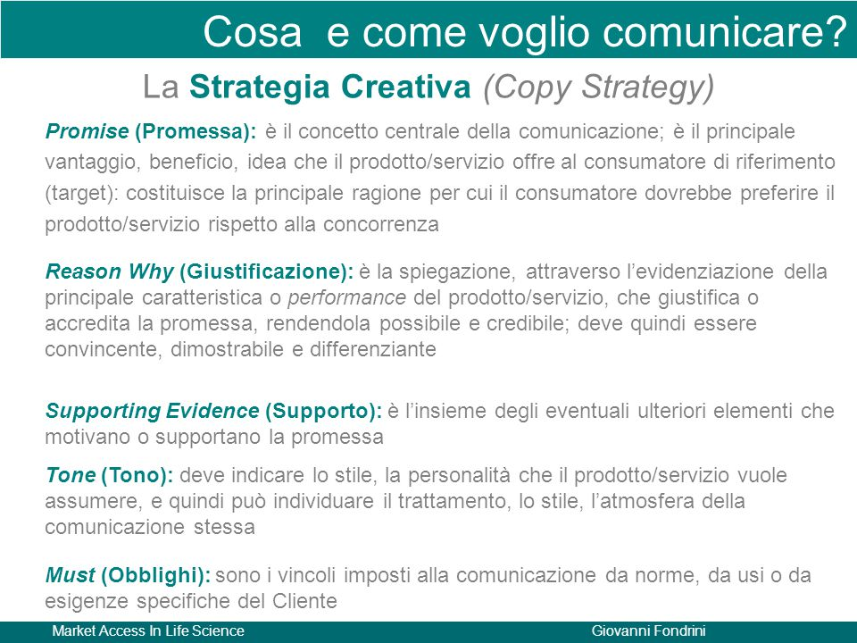 La Strategia Creativa (Copy Strategy)