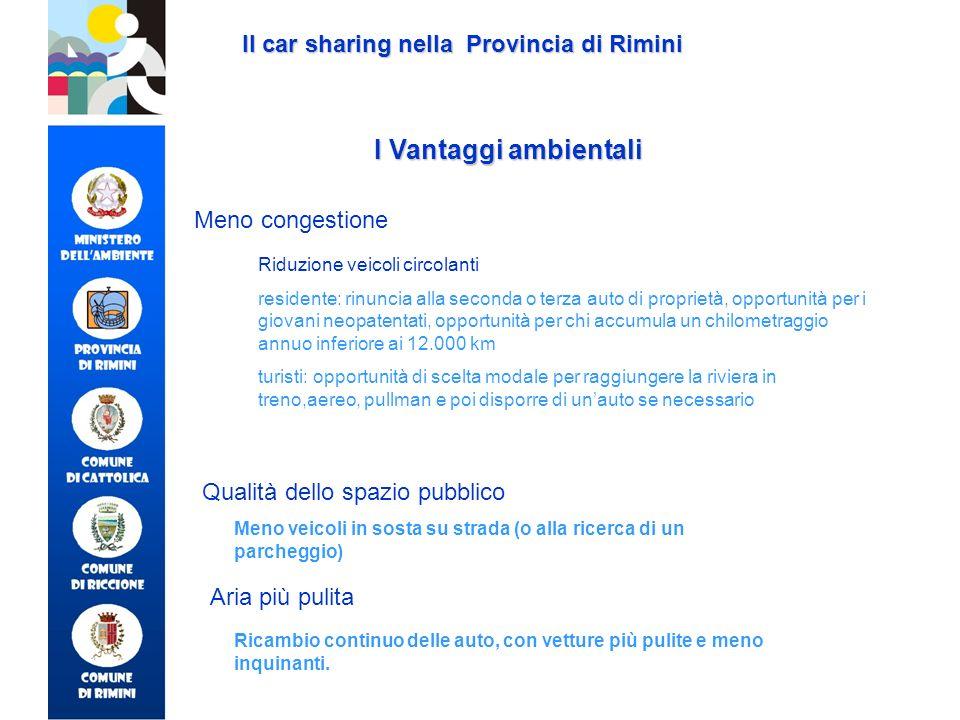 I Vantaggi ambientali Il car sharing nella Provincia di Rimini