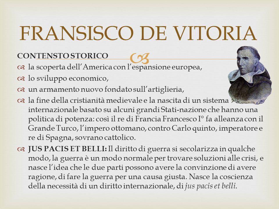 FRANSISCO DE VITORIA CONTENSTO STORICO