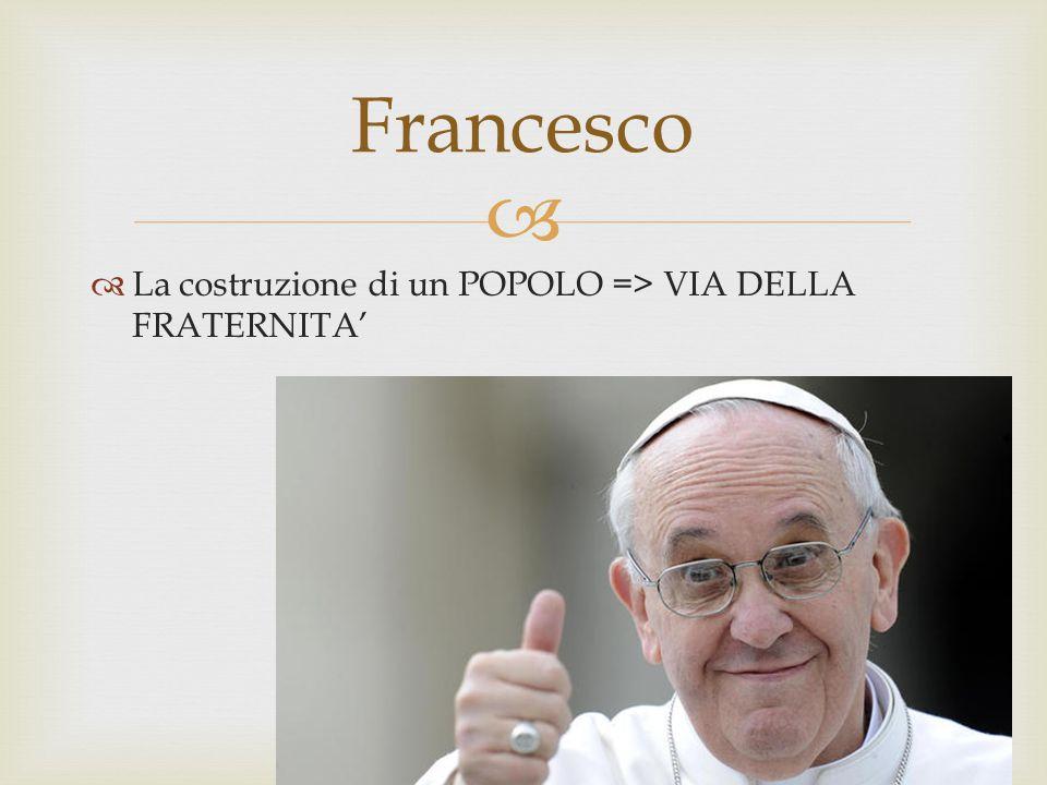 Francesco La costruzione di un POPOLO => VIA DELLA FRATERNITA'