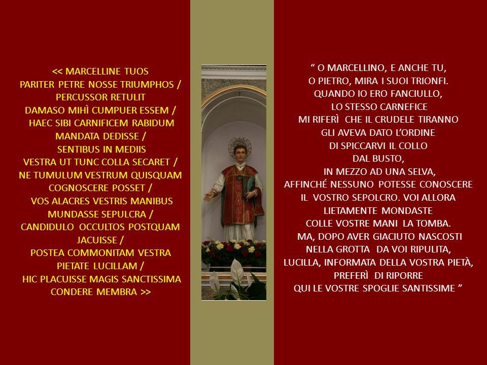 O MARCELLINO, E ANCHE TU, O PIETRO, MIRA I SUOI TRIONFI.