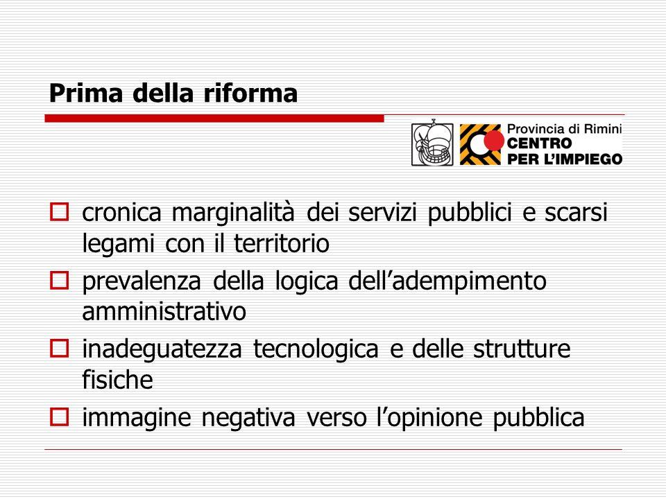 Prima della riforma cronica marginalità dei servizi pubblici e scarsi legami con il territorio.