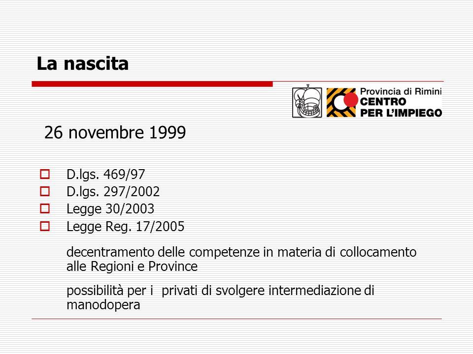 La nascita 26 novembre 1999 D.lgs. 469/97 D.lgs. 297/2002