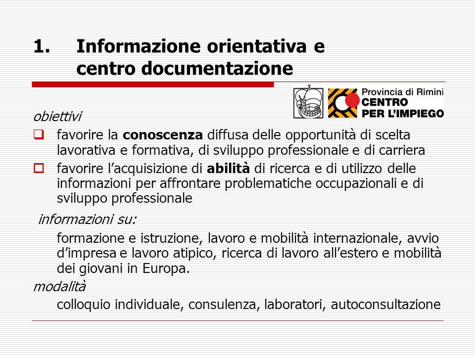 Informazione orientativa e centro documentazione