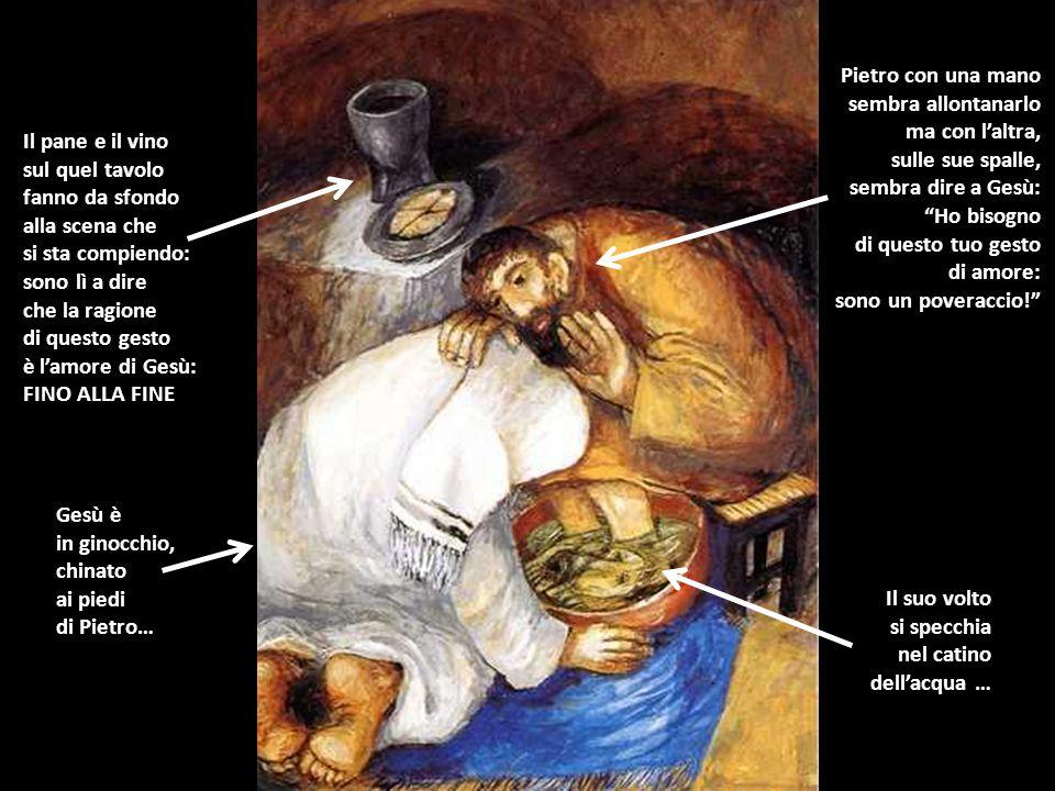 Pietro con una mano sembra allontanarlo. ma con l'altra, sulle sue spalle, sembra dire a Gesù: Ho bisogno.